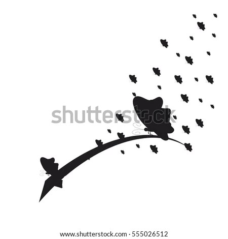 Silhouette Birds On Wire Vector Illustration Stock Vector