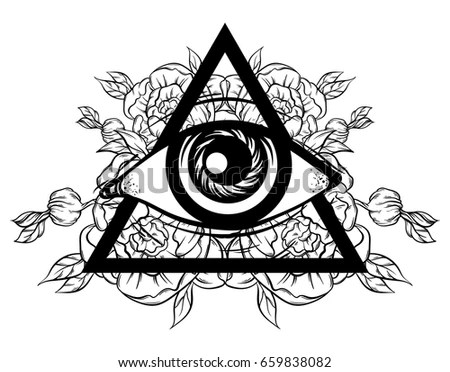 Vector Hand Sketched Illustration All Seeing Stock Vector