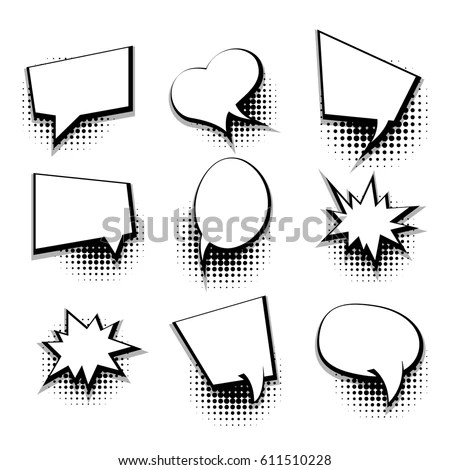 Collection Blank Template Comic Text Speech Stock Vector