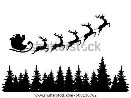 Santa Sleigh Silhouette Stock Images, Royalty-Free Images