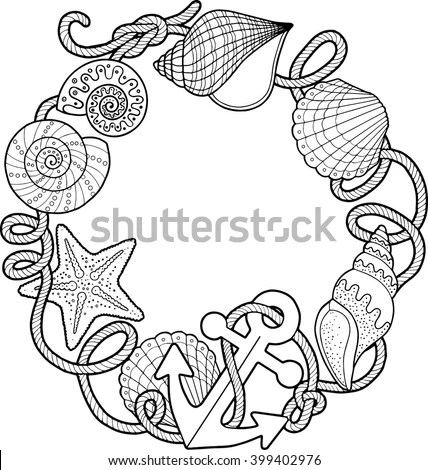 Coloring Book Adult Sea Beach Slippers Stock Vector