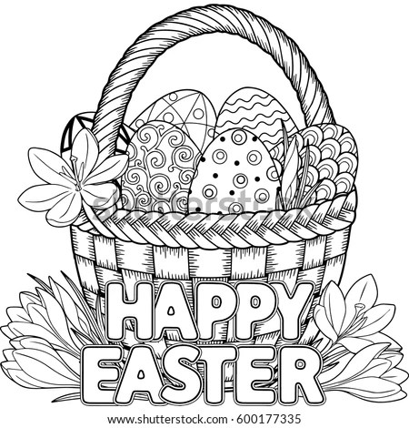 Happy Easter Black White Doodle Easter Vectores En Stock