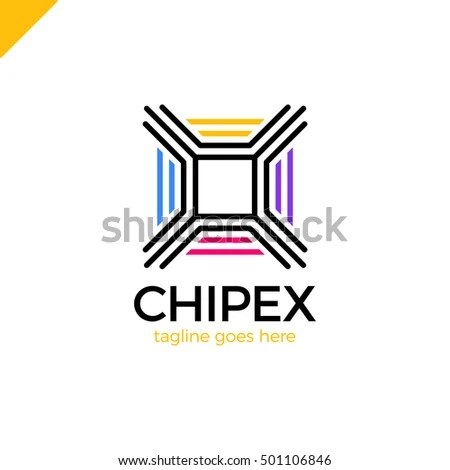 Modern Line Chip Logo Letter X Stock Vector 501106834