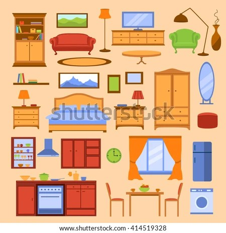 Colorful Furniture Items Set Furniture Collection Stock