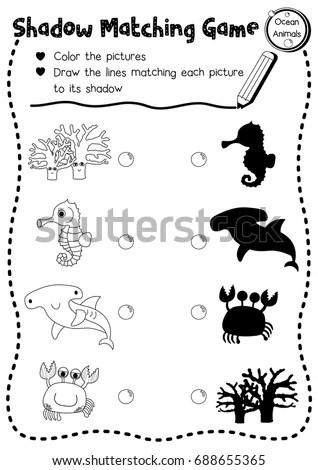 Shadow Matching Game Ocean Animals Preschool Stock Vector