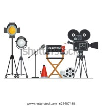 Film Directors Chair Megaphone Projector Camera Stock ...