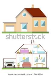 exterior drawing vector simple flat interior shutterstock primitive lawn illustration children