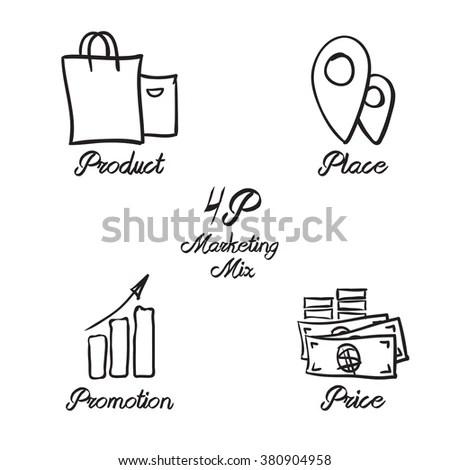 Marketing Mix Elegant Icon Kit Hand Stock Vector 380904958