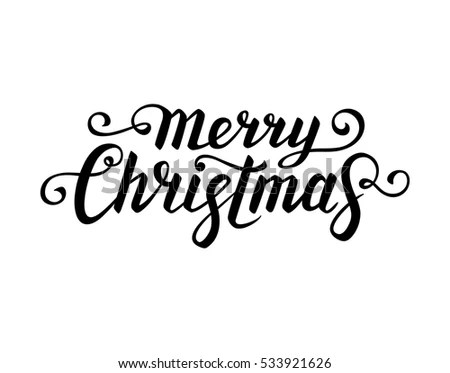 Merry Christmas Text Calligraphic Lettering New Stock