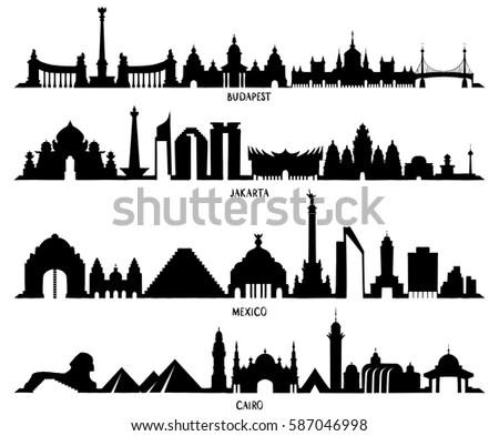 Skyline Historic Architecture Line Vector Illustration