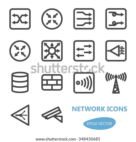 Network Devices Icon Set Vector Illustration Stock Vector
