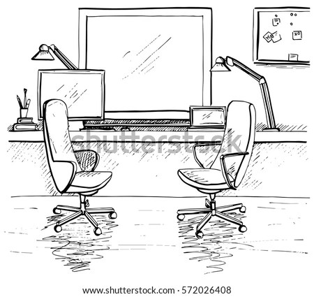 Sketch Room Two Office Chairs Desk Stock Vector 572026408