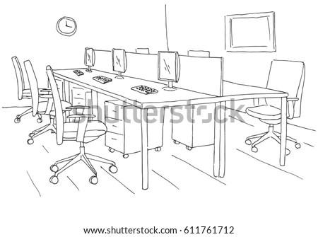 Cartoon Image Classroom Interior Stock Illustration