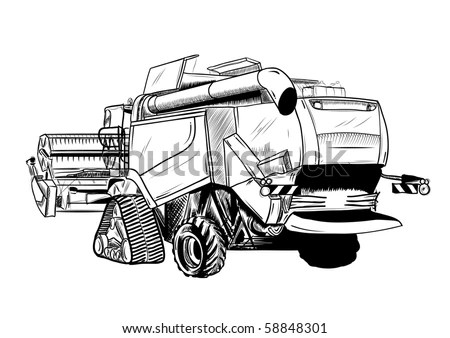 Combine Harvester Isolated Stock Photos, Images