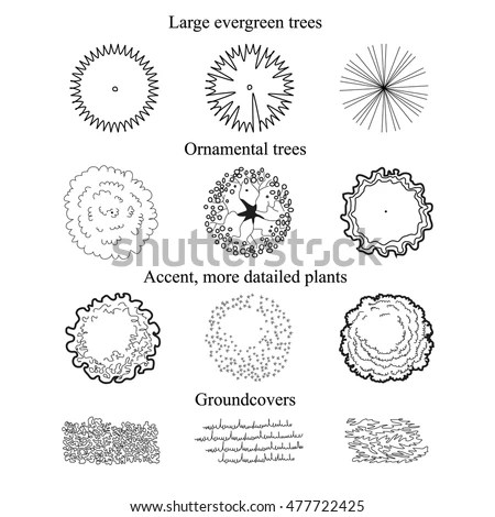 Ground Covers Trees Set Top View Stock Vector 477722425