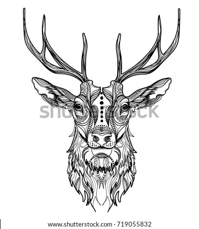 Black White Engrave Isolated Deer Stock Illustration