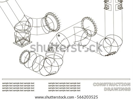 Drawings Steel Structures Pipes Pipe 3 D Stock Vector