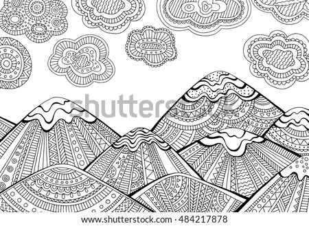 Printable Coloring Page Adults Mountain Landscape Stock