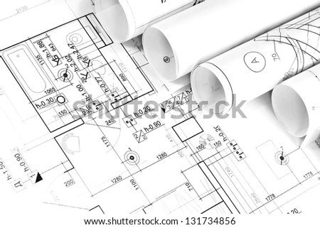 White Pencil On Architectural Construction Drawings Stock