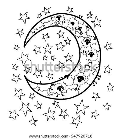 Counting Sheep Moon Stars Blank Coloring Stock Vector