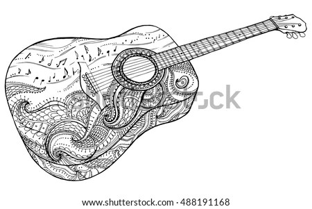 Stylized Classical Guitar Retro Guitar Musical Stock