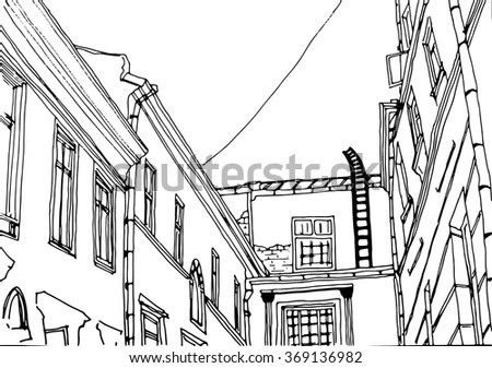 City Landscape Black White Line Drawing Stock Vector