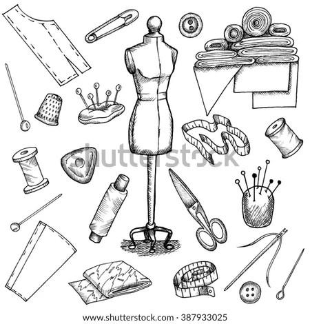 Set Vector Hand Drawn Sewing Supplies Stock Vector
