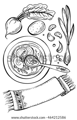 Sushi On Plate Coloring Book Illustration Stock Vector