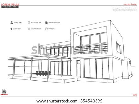Wireframe Blueprint Drawing 3d Building Vector Stock
