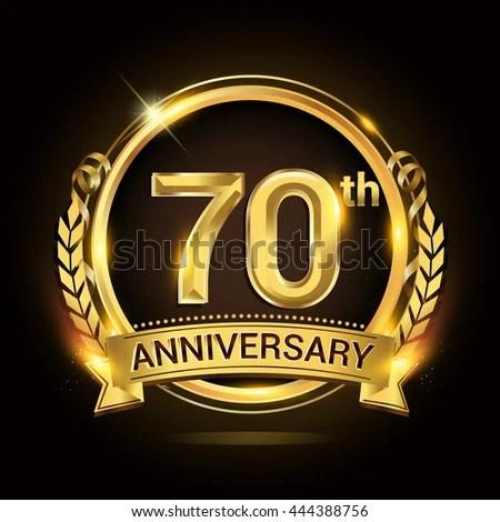 Celebrating 70 Years Anniversary Logo Golden Stock Vector