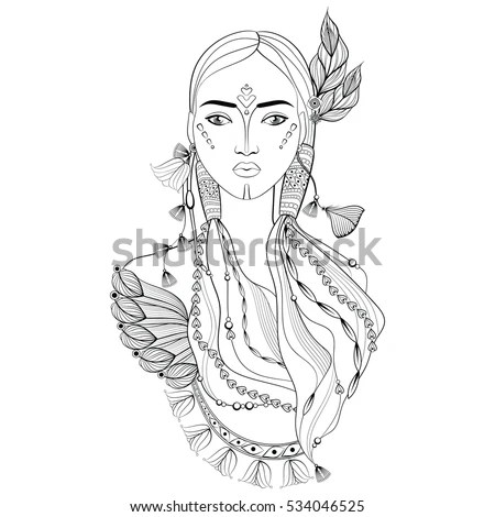 Decorative Indian Woman Doodle Zentangle Style Stock