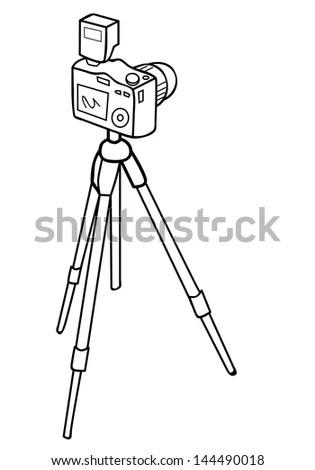Vector Illustration Camera Tripod Stock Vector 144490018