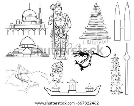 Famous China Landmarks Thin Line Great Stock Vector