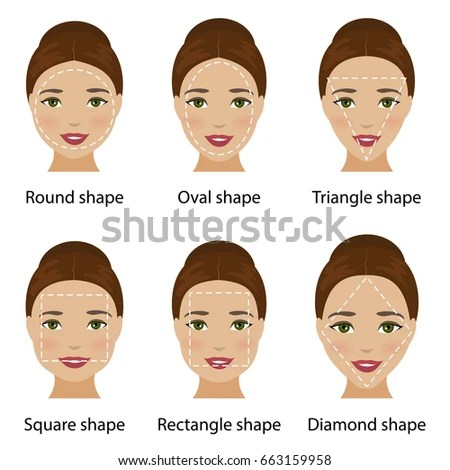 Set Different Types Woman Face Shapes Stock Illustration