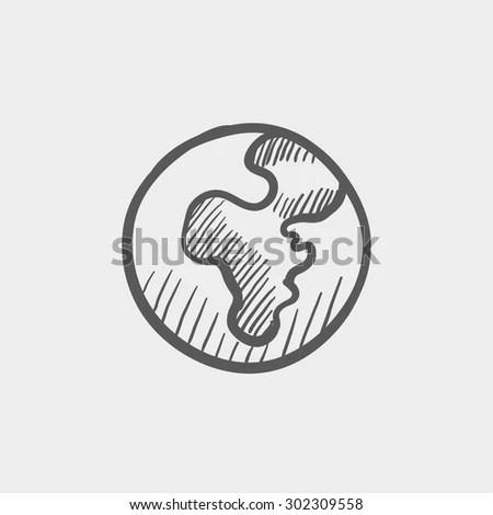 Globe Sketch Icon Web Mobile Hand Stock Vector 302309558