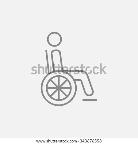 Disabled Person Sitting Wheelchair Line Icon Stock Vector