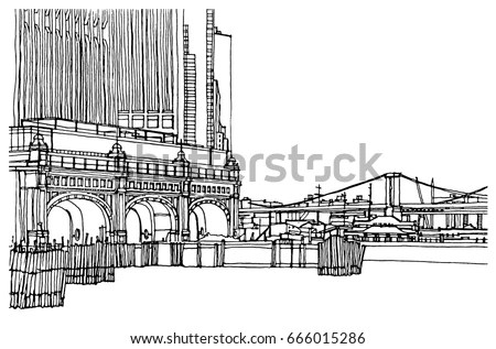 Ancient Stone Arch Bridge Stock Vector 358748147