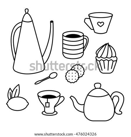 Hand Drawn Set Kitchenware Utensils Vector Stock Vector