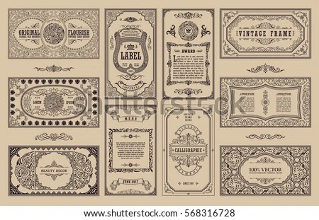Vintage Set Retro Cards Template Greeting Stock Vector