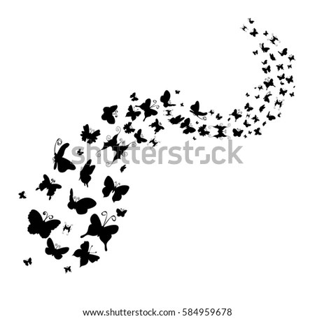 Vector Pattern Silhouette Butterfly Flying Stock Vector