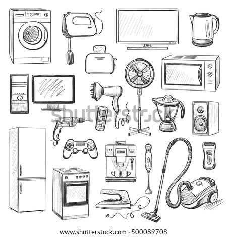 Set Graphic Quality Images Household Appliances Stock