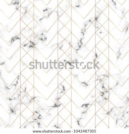Modern Minimalist White Marble Texture Gold Stock Vector