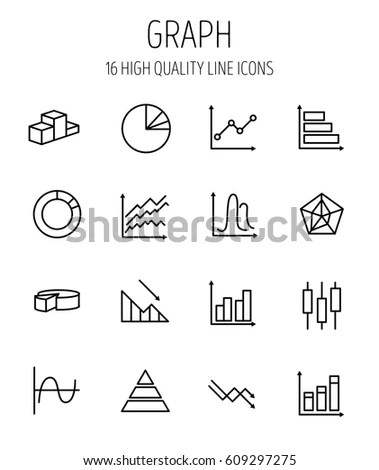 Set Graph Icons Modern Thin Line Stock Vector (Royalty