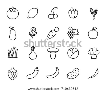 Vegetables Fruits Icons White Background Stock Vector