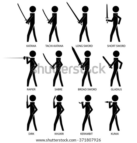 Man Holding Using Weapons Stick Figure Stock Vector