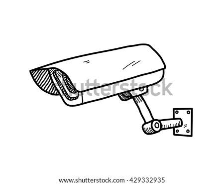Cctv Camera Hand Drawn Vector Doodle Stock Vector