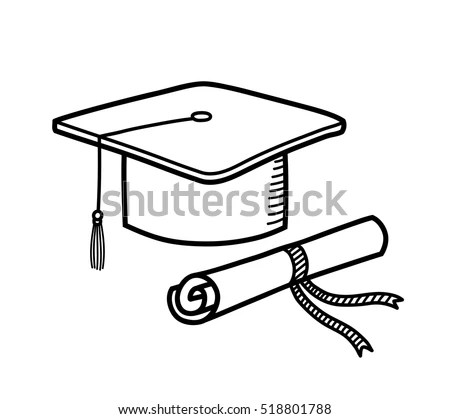 Hand Drawn Vector Doodle Illustration Graduation Stock