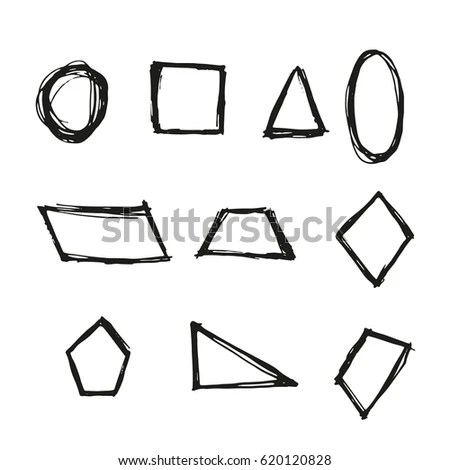 Geometric Figure Hand Drawn Oval Circle Stock Vector