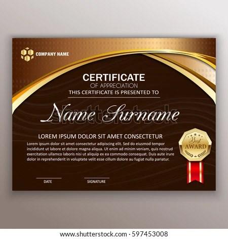 Beautiful Certificate Template Design Best Award Stock