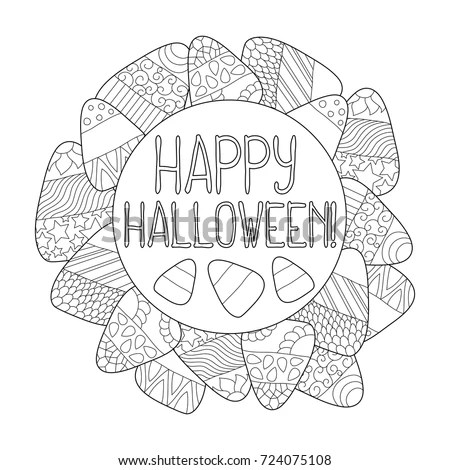 Candy Corn Vector Coloring Page Happy Stock Vector